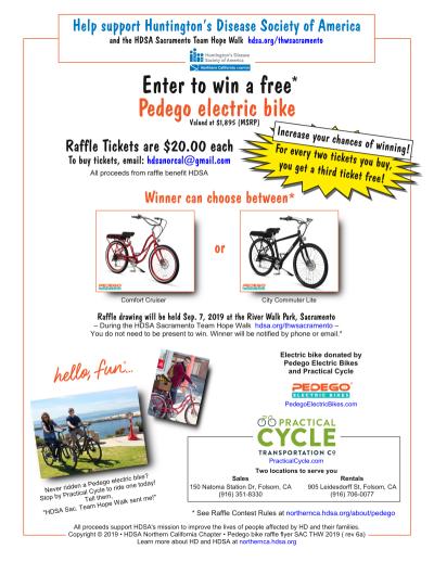 Pedego electric bike raffle flyer